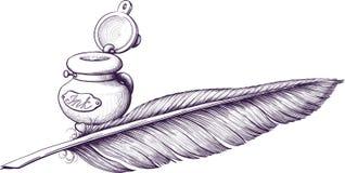 Pluma del tintero y de canilla libre illustration