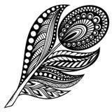 Pluma dibujada mano del zentangle en el fondo blanco Fotografía de archivo