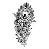 Pluma dibujada mano del zentangle en el fondo blanco Imagen de archivo libre de regalías