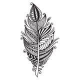 Pluma dibujada mano del zentangle en el fondo blanco Imagen de archivo