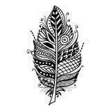 Pluma dibujada mano del zentangle en el fondo blanco Fotografía de archivo libre de regalías
