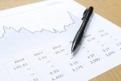 Pluma e informe financiero Fotografía de archivo