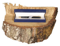 Pluma en caja de regalo azul en un pedazo de tronco del abedul aislado en blanco Imagen de archivo
