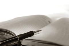 Pluma en el diario del planificador del día Fotografía de archivo libre de regalías