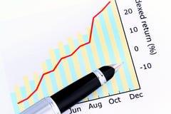 Pluma en gráfico positivo de la ganancia Imagen de archivo