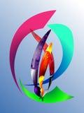 pluma geométrica, cepillo, lápiz 1 Imagen de archivo libre de regalías