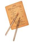 Pluma, lápiz y papel de la vendimia Foto de archivo