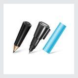 Pluma, lápiz y regla aislados en blanco libre illustration