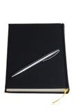 Pluma negra del daybook y de la plata Imagen de archivo libre de regalías