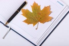 Pluma negra que miente en un cuaderno Hoja de arce amarilla Imagenes de archivo