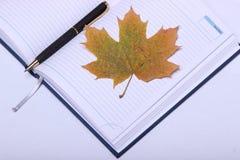 Pluma negra que miente en un cuaderno Hoja de arce amarilla Fotografía de archivo libre de regalías