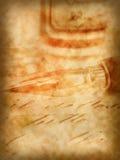 Pluma vieja y fondo retro de la caligrafía Imagen de archivo