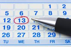 Pluma y calendario foto de archivo libre de regalías
