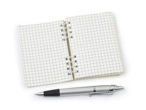 Pluma y cuaderno de notas Foto de archivo