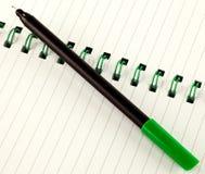 Pluma y cuaderno verdes Foto de archivo libre de regalías