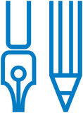 Pluma y lápiz del â de la ilustración del papel del vector ilustración del vector