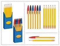 Pluma y lápices fijados Fotos de archivo