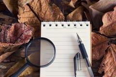 Pluma y lupa en el cuaderno de notas con la hoja seca en naturaleza Fotos de archivo libres de regalías