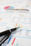 Pluma y papel del informe, negocio conceptual Fotografía de archivo libre de regalías