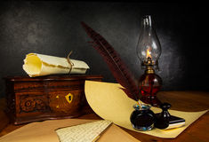 Pluma y tinta de la pluma Foto de archivo libre de regalías