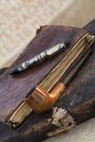 Pluma y tubo antiguos Imagen de archivo libre de regalías