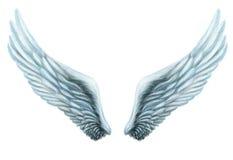 Plumaje blanco del ala de la fantasía interna aislamiento Fotos de archivo
