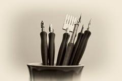 Plumas artísticas del arte Imagen de archivo libre de regalías