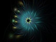 Plumas azules coloridas con los puntos en un fondo oscuro Foto de archivo libre de regalías