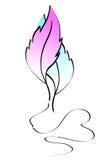Plumas azules y rosadas con un corazón Fotografía de archivo
