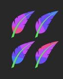 Plumas coloreadas brillantes fijadas Imagen de archivo libre de regalías