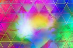 Plumas coloridas con los triángulos Imagen de archivo libre de regalías