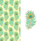 Plumas coloridas del pavo real Modelo inconsútil del vector Imagenes de archivo