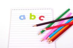 Plumas del ABC de la escuela Imagenes de archivo