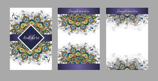 Plumas del pavo real, diseño del vector de la cubierta Imágenes de archivo libres de regalías
