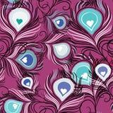 Plumas dibujadas mano de los pavos reales en fondo púrpura Fotografía de archivo