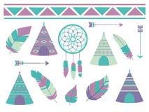 Plumas, dreamcatcher, flechas y tienda del tipi con el modelo bohemio del ethno, un collectio lindo del ejemplo del vector del es ilustración del vector
