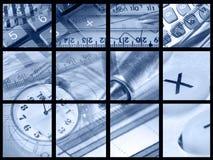 Plumas, reglas, dinero y claves (azules) imágenes de archivo libres de regalías