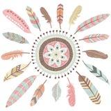 Plumas tribales Mandala Elements stock de ilustración