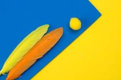 Plumas y juguetes coloridos de la espuma Fotografía de archivo