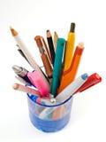 Plumas y lápices Imagen de archivo