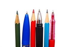 Plumas y lápices Fotografía de archivo