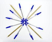 Plumas y pensils Imagen de archivo libre de regalías