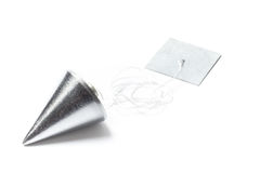 Plumb Bob and a Cord. Metal plummet in the form of a cone white cord and plank. The objects are laid on the table and isolated on white Stock Image