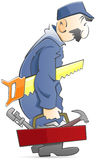 Plumber. Walking while holding a toolbox and a saw. illustration isolated on a white background Royalty Free Stock Images