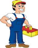 Plumber. Ready for work. Cartoon Royalty Free Stock Photo