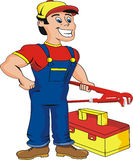 Plumber. Ready for work. Cartoon Royalty Free Stock Image