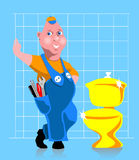 Plumber. Happy plumber after his successful  work Stock Photo