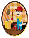 Plumber. Working in a bath Royalty Free Stock Photography