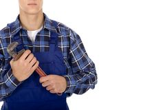 Plumber. Holding pipe wrench, isolated Stock Photo