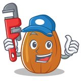 Plumber almond nut character cartoon Royalty Free Stock Image